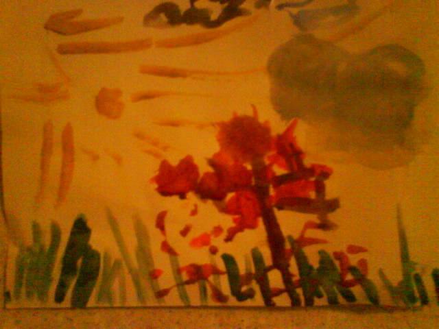 моя дочь в 3годика рисует осень